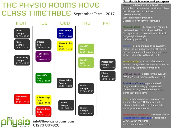 The Physio Rooms Hove  New Class Timetable Available  The Physio Rooms