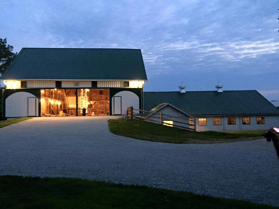 Legacy Barn at Leafy Lane Wedding and Event Venue at Night with Lights