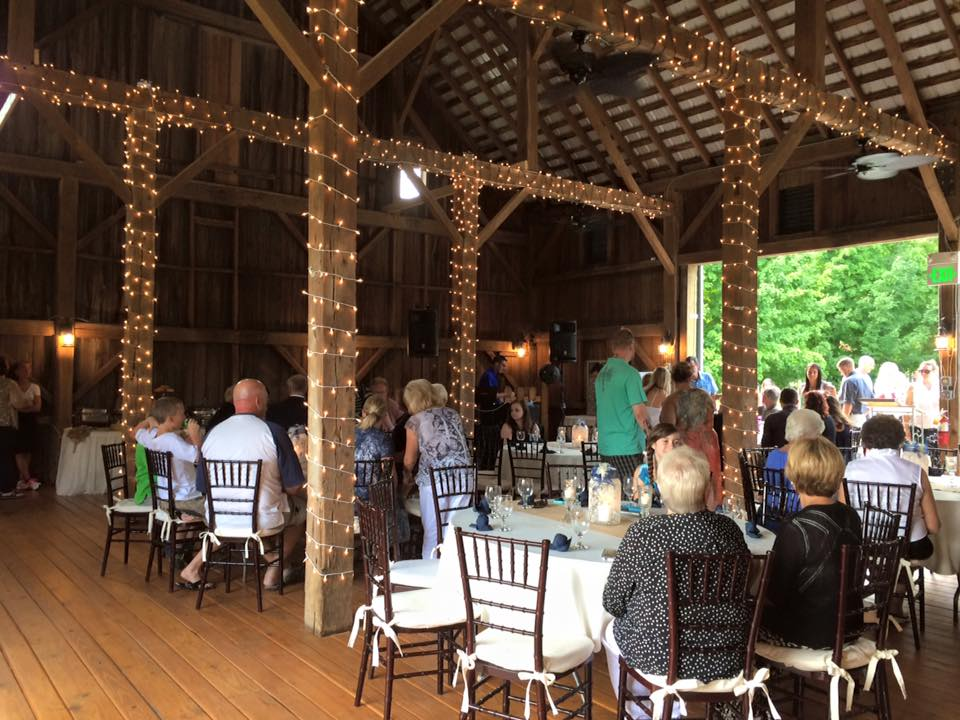 Kokomo, Indiana's Legacy Barn Event Facility with Rustic Reception lighting