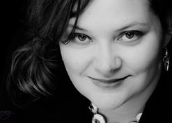Crista Tharp Headshot - Horizontal Black and White