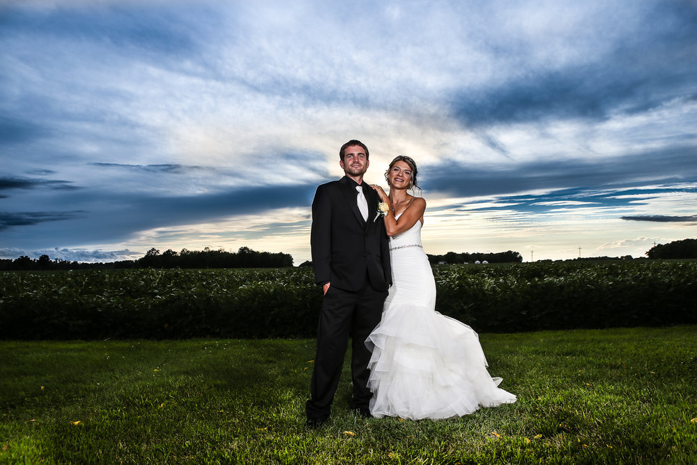 Bride & Groom Sunset Picture at the Legacy Barn