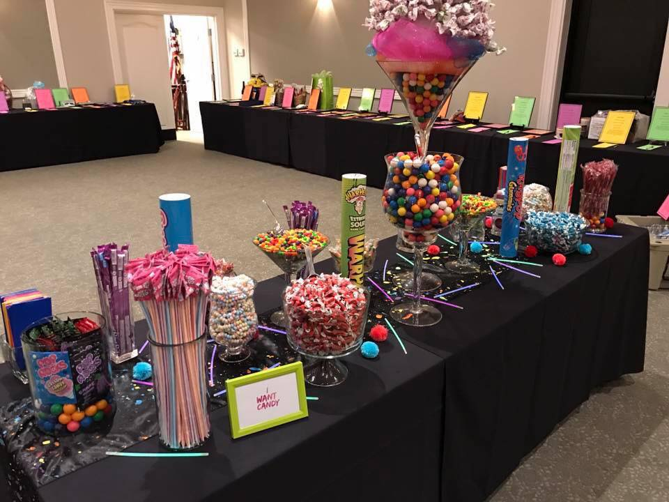 Candy Buffet and Silent Auction set up