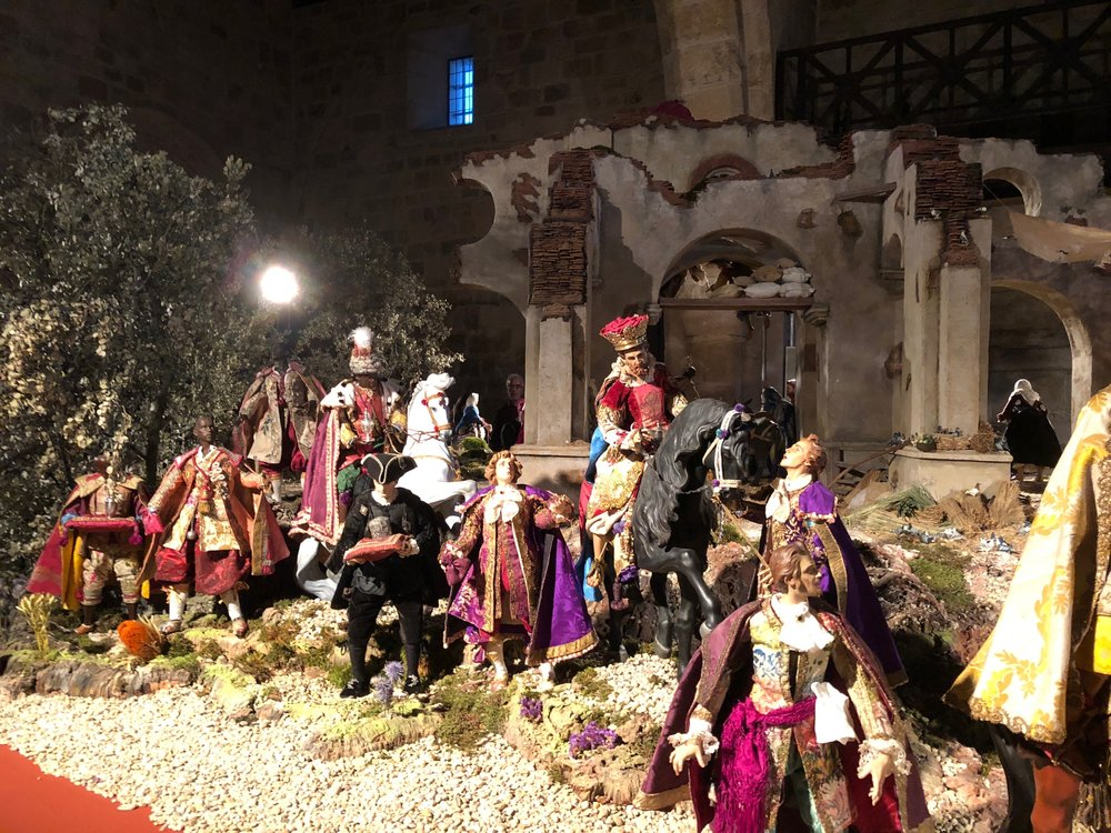 The Magi en route in the crèche which occupies the interior of the Church