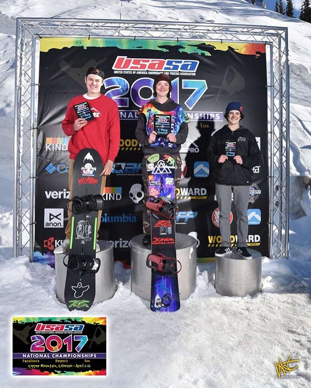 Awesome finish at the USASA National Championships, placed 1st overall , I would like to thank all my coaches and sponsors to help me get on the podium #vtpb #gmavt #doneksnowboards #usasanationals