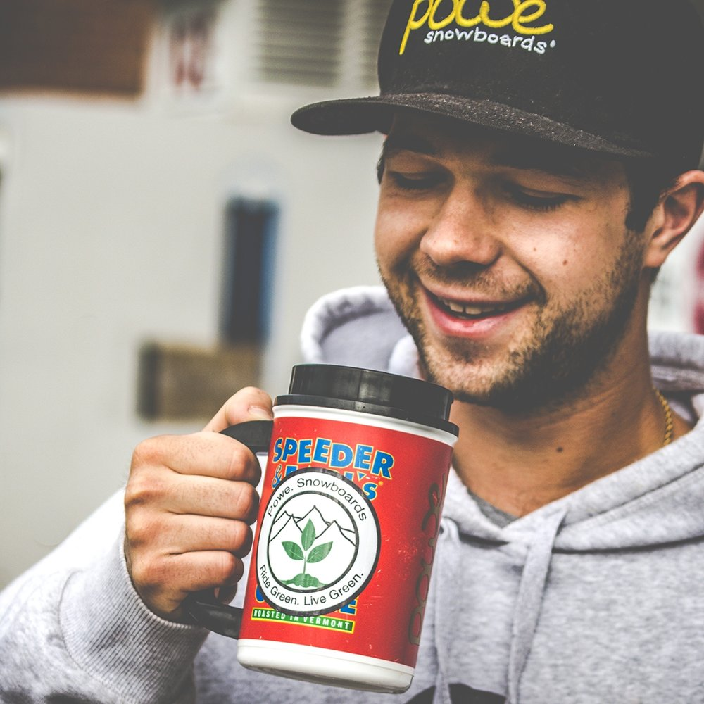 Owner,  Sean Israelski , enjoying a cup of local Jo (shoutout to Speeder & Earls). Photo by:  TJ Thran