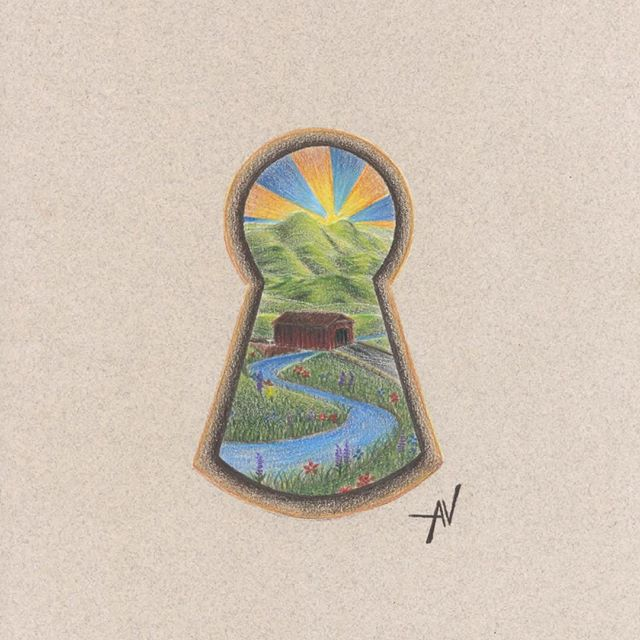 Man this series has been fun! Summer keyhole for @scrumptioussecretsvt . • #scrumptioussecrets #vermont #vermontinsummer #summerinvt #keyhole #drawing #coloredpencil #draw #art #artwork #makegreatart #createdaily