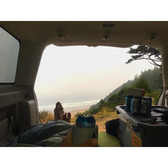 Sleep in cars, eat cold soup in cans,  eat cold beer in cans & surf too