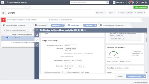 comment estimer son budget publicitaire sur Facebook Social Media Consultance Paris