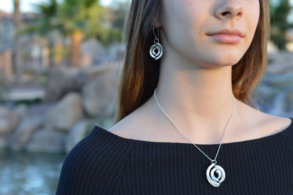 Limited Edition Labyrinth Series Argentium Silver Pendant & Earrings Set