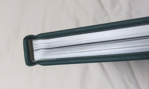 Pages were smyth sewn and bound with green headbands.
