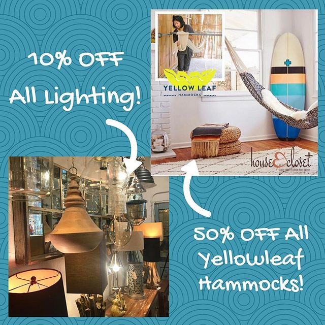 1 Long Weekend - 2 Great Sales! 10% OFF ALL LIGHTING to help you light up the night! & 50% OFF ALL YELLOWLEAF HAMMOCKS so you can swing into summer! #summersale #memorialdayweekend #summerfun #summersun #lighting #hammocks #yellowleaf
