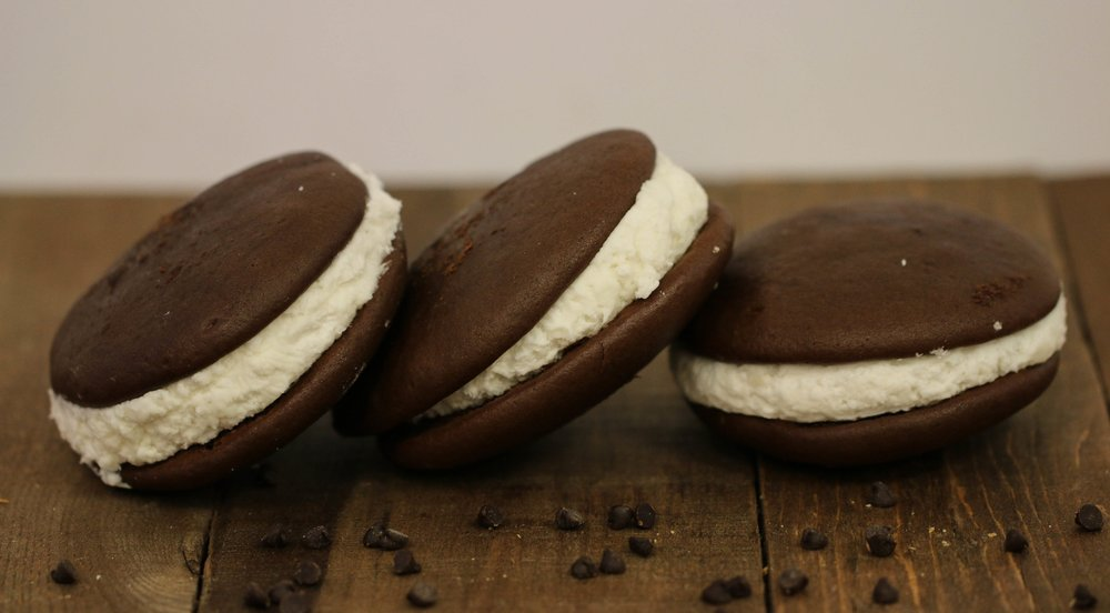 (shown above) Traditional Whoopie Pies from The Bake Shoppe, which has been making them daily in the small town of Mount Joy, located in Lancaster, PA, since 1982