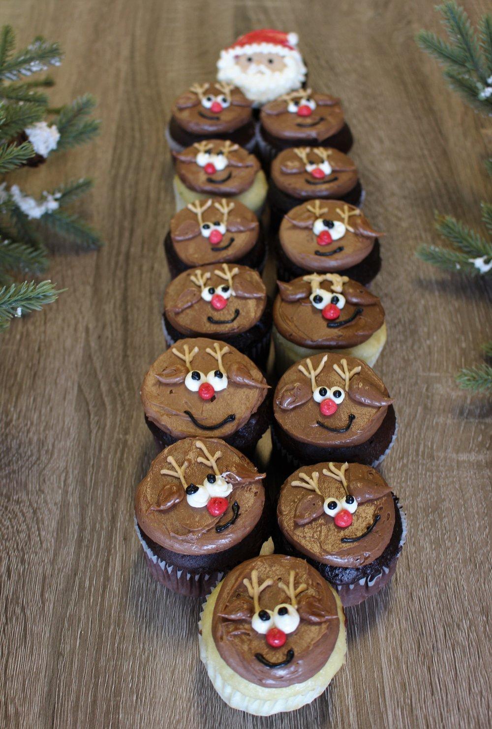 Santa and His Reindeer Cupcakes