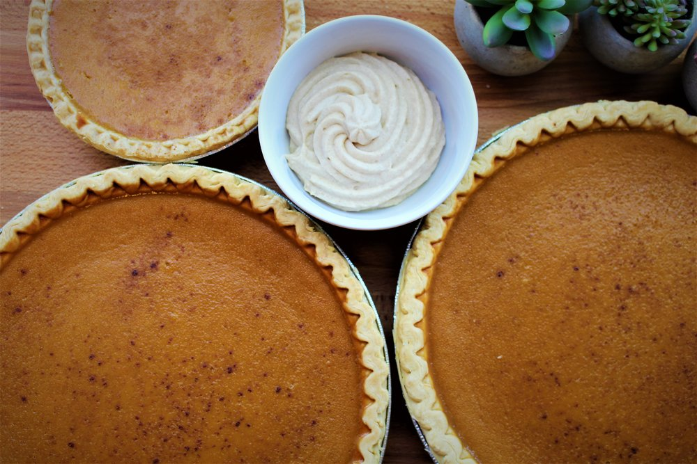 fresh pumpkin pie with brown sugar whipped topping