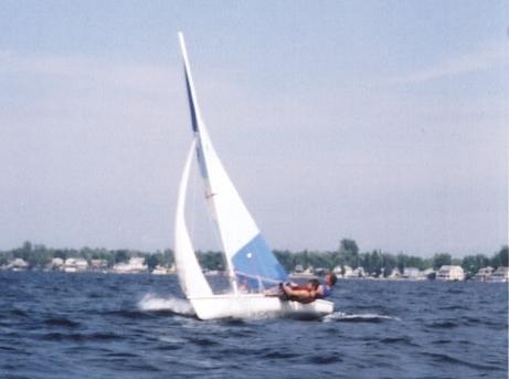 Racing a Laser at Thousand Islands, circa 2003