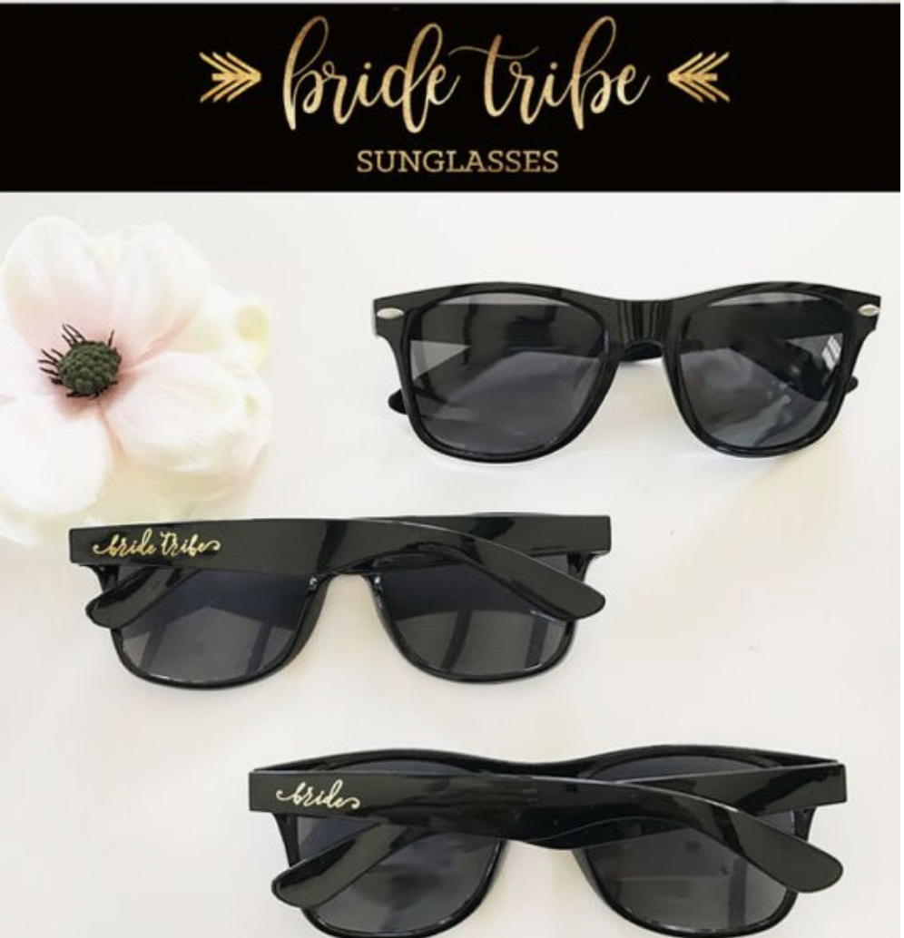 Bride tribe sunglass favors are pretty cool.