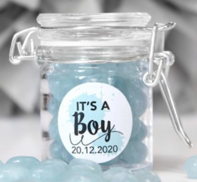 Personalised baby shower favors.