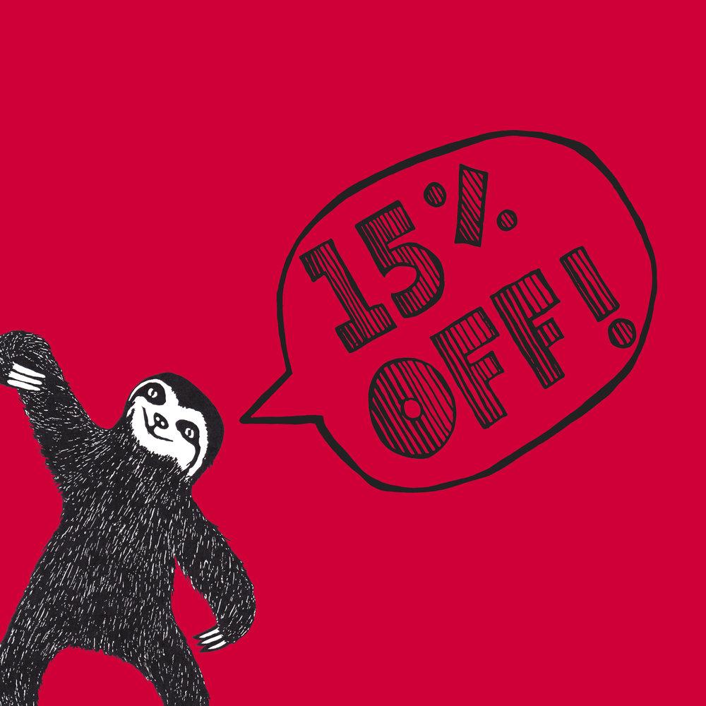 15% discount STANDING SLOTH206C-CE0037.jpg