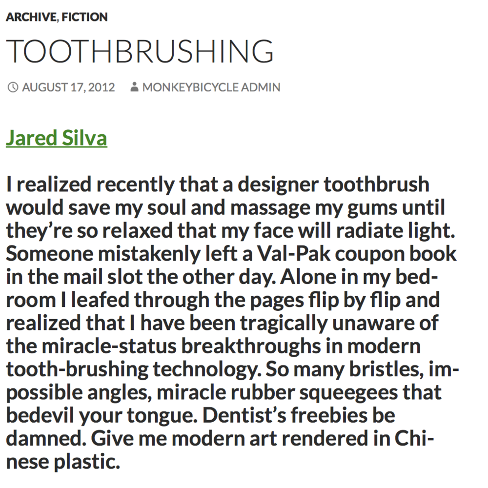 "Monkeybicycle | ""Toothbrushing"""