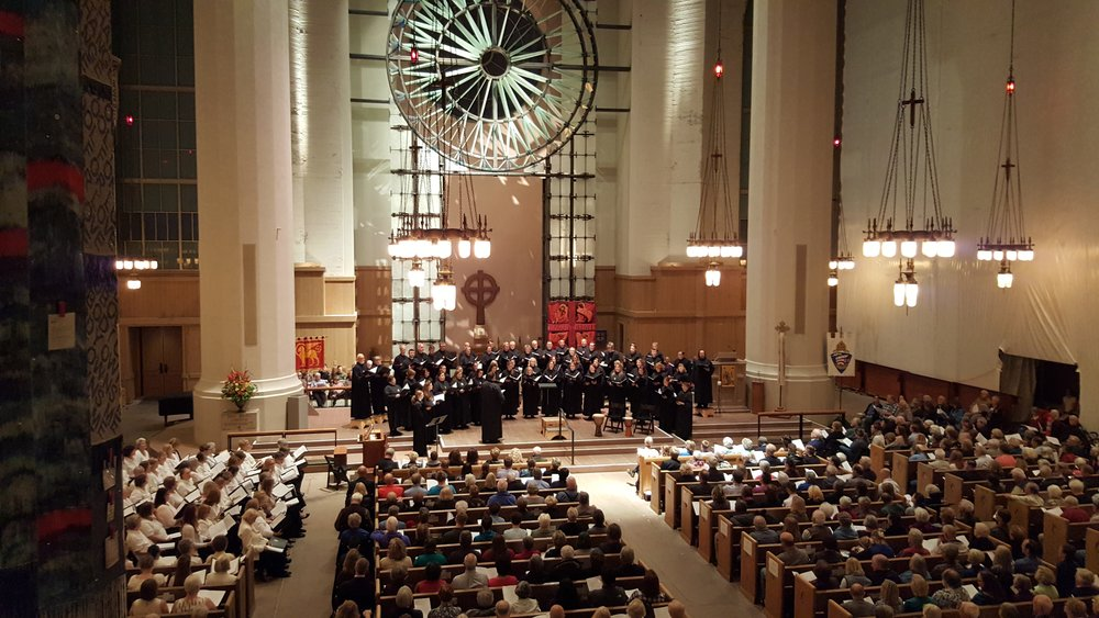NLC sings to a full, under-construction cathedral at St. Mark's Episcopal in Seattle, WA on September 29, 2017.