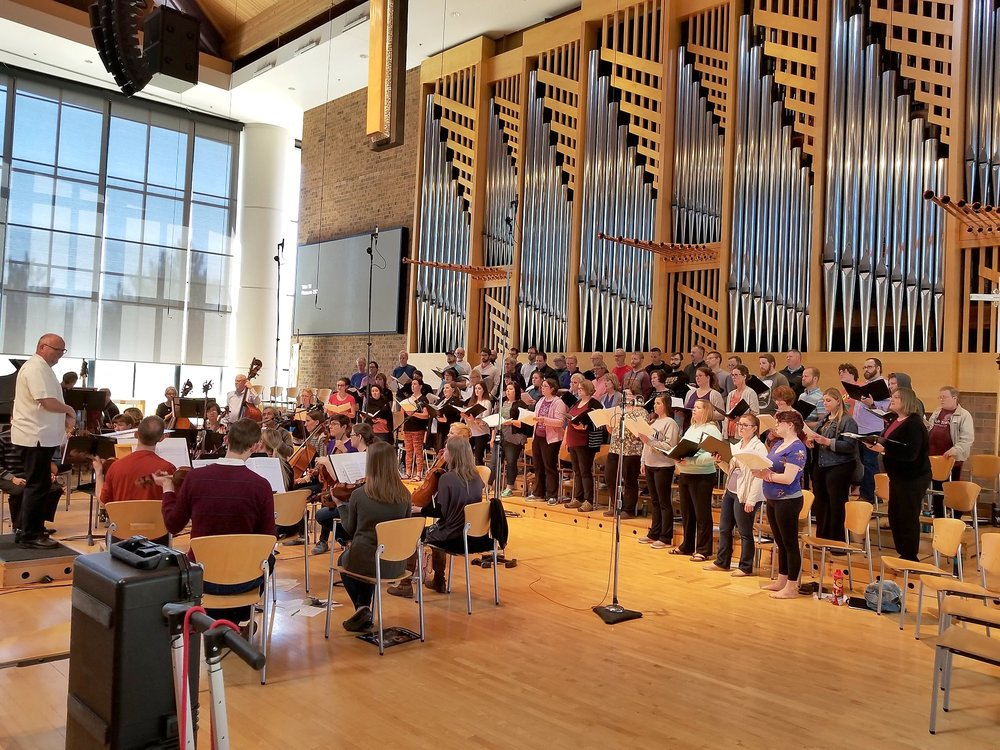 The choir and orchestra work together at St. Andrew's Lutheran Church in Mahtomedi over the weekend of April 28 and 29, 2018.
