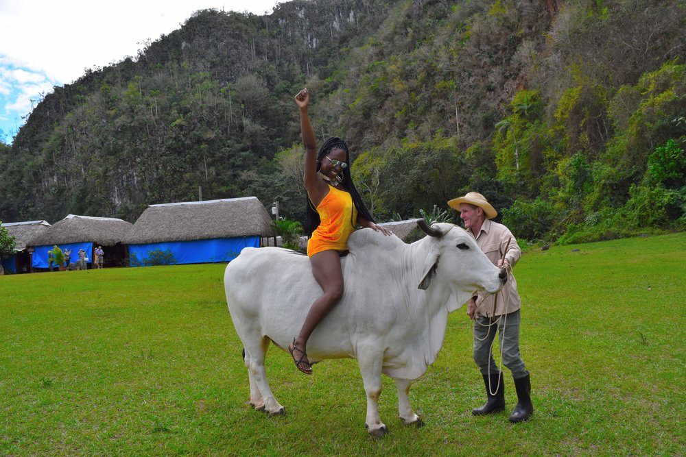 Riding a bull through the Vinales Valley, Cuba.