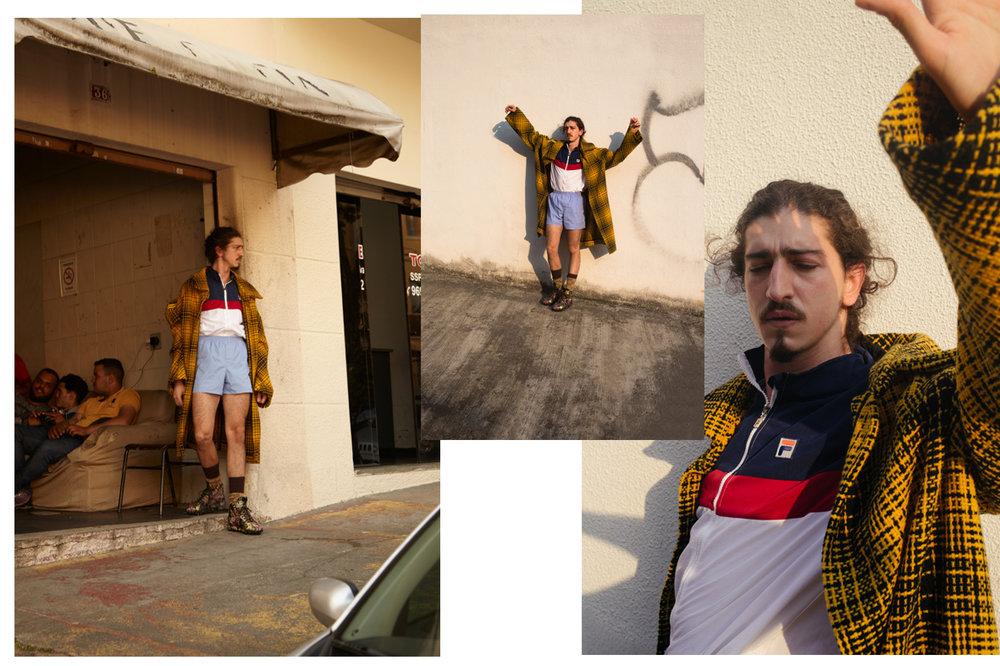 Jaqueta Fila; shorts acervo do stylist; meias e tênis Gucci; casaco João Pimenta