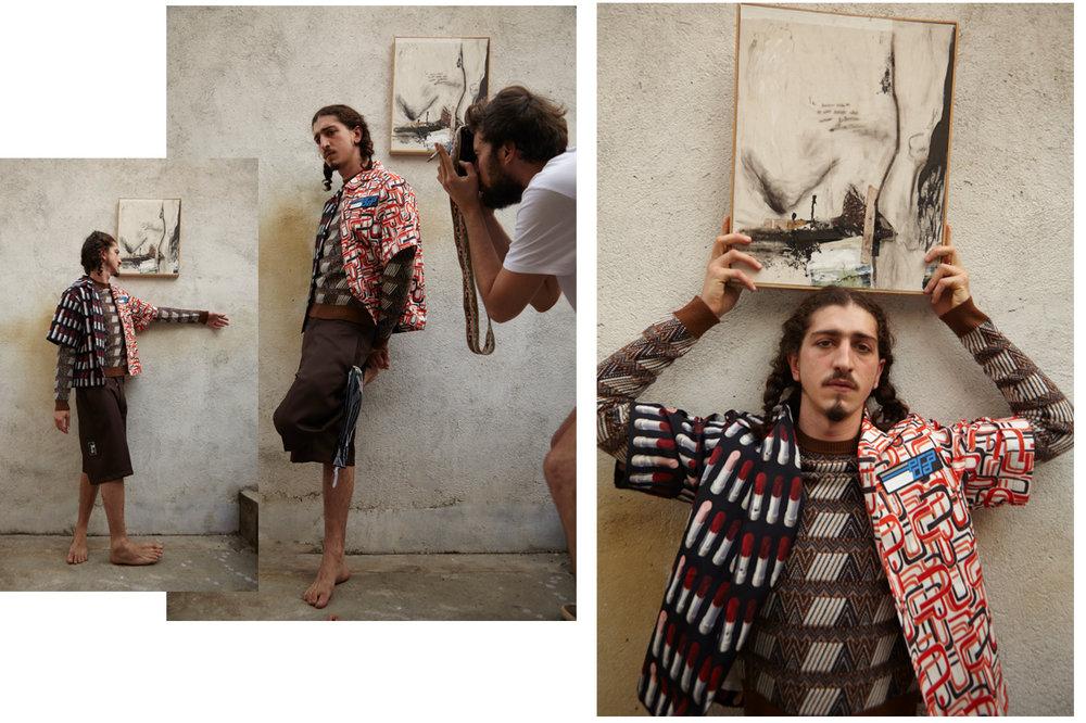 Tricot, camisa e bermuda Prada