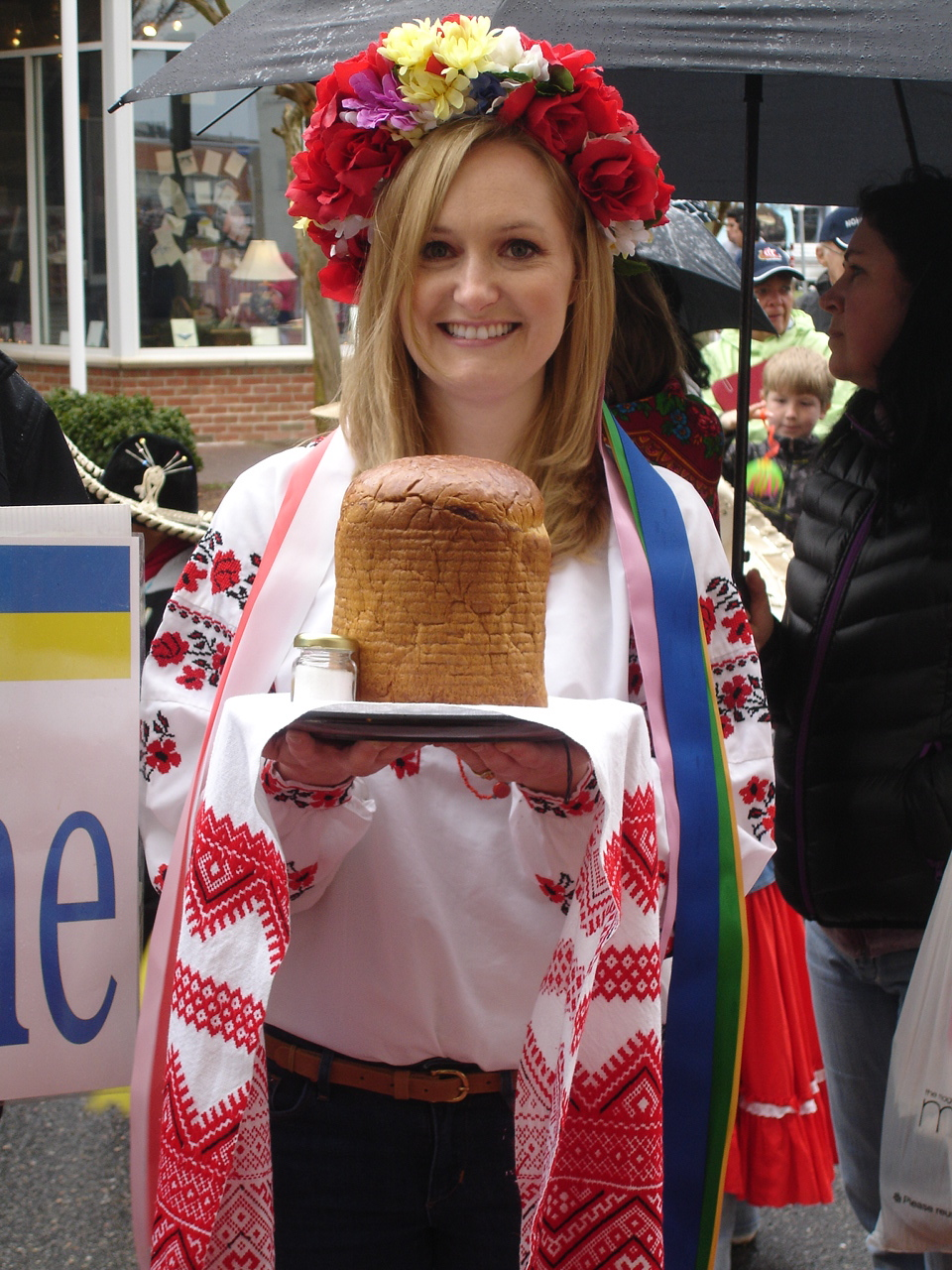"Joanna Griffin with a traditional Ukrainian bread (""korovai"")"