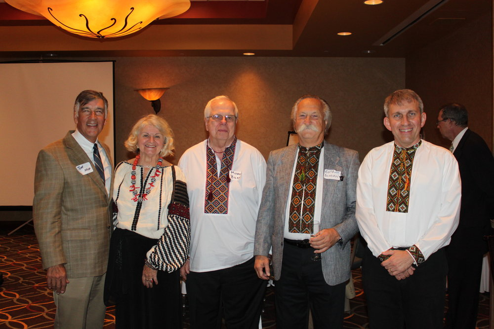 Former TUCA Presidents - from left: Tom Krop, Olena Boyko, Myron Bilyj, Bohdan Korolyshyn - standing in for his sister, Nadia Hoots, and Wally Melnitchouk.