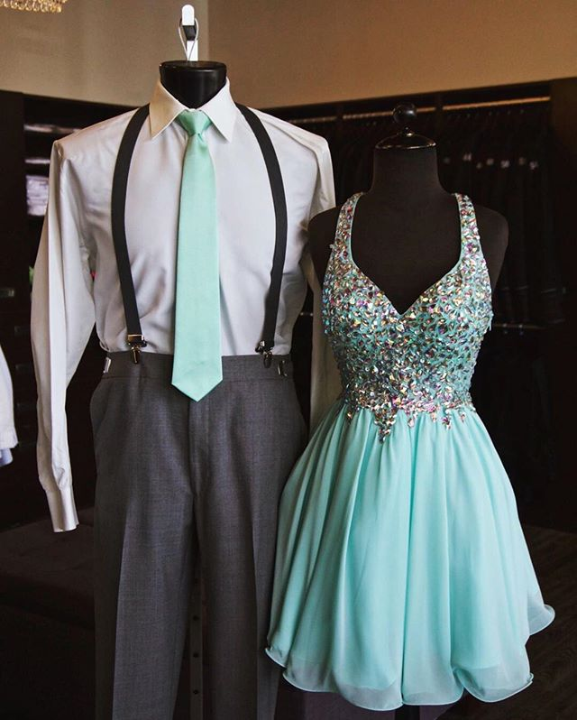 We are suckers for a well matched couple's outfit!!!! This tie! This dress! What's not to love??!! #promgirl #formaldresses #wearitloveit #dressedup #spokane #gownspiration #homecomingdress #matchingtie #suspenders #welldressed #classictie #windsor #welldressedman #partydress #teal #skyblue #beadeddress #spokane #spokanedoesntsuck