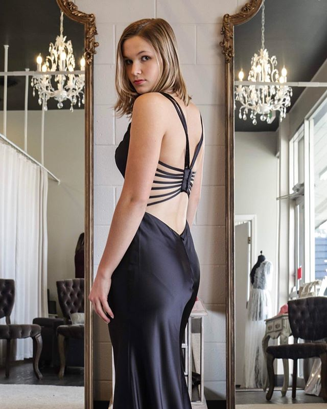 Simple. Elegant. Gorgeous. #backappeal #LBD #Blackpromdress #satindresses #shoplocal  @myvisualperception @caedies_fashion_sewing