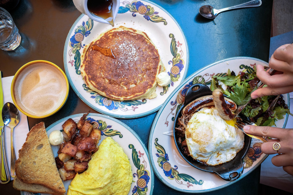 "The ""savory or sweet?"" brunch conundrum is easily fixed by ordering a pancake on the side!"
