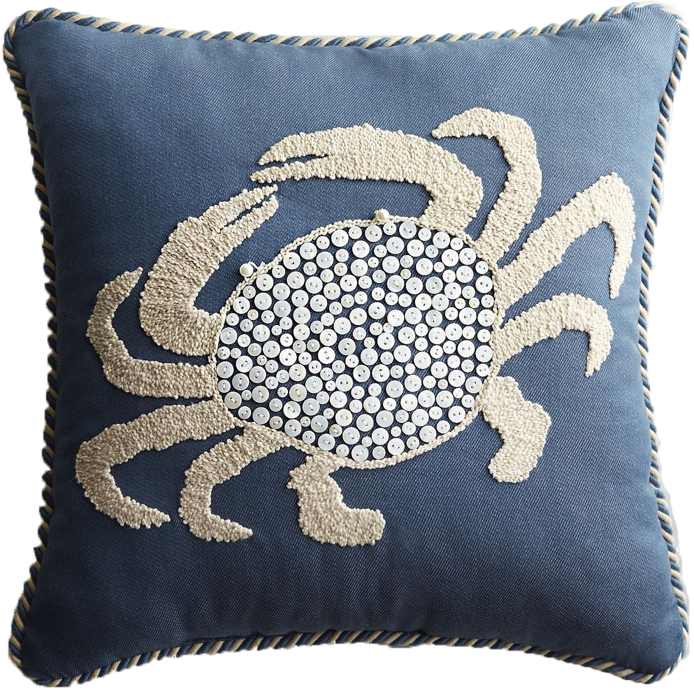 Embroidered Button Crab Pillow - $40