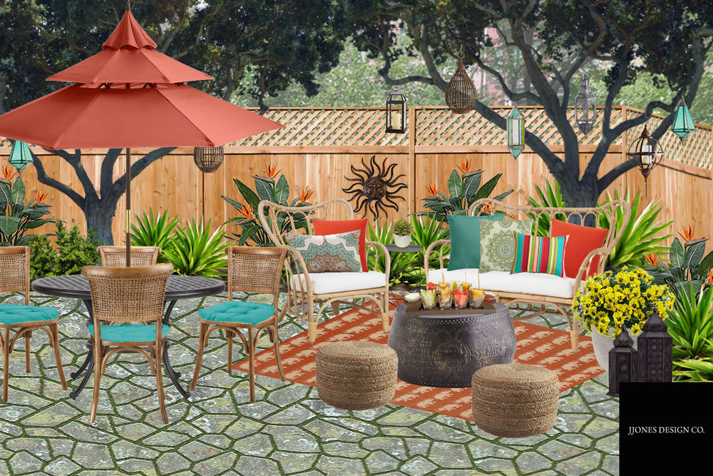 Bohemian Style Backyard Patio