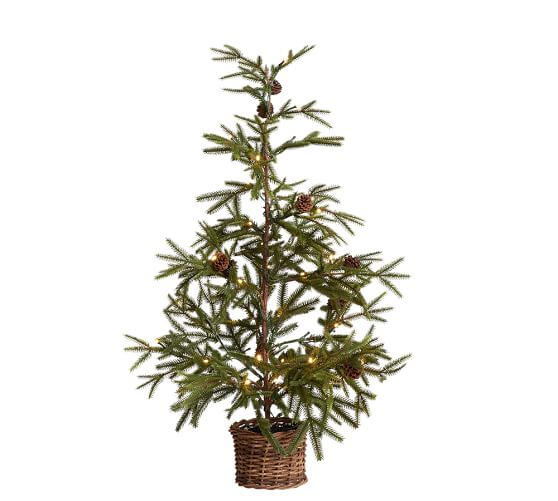 "36"" Faux Lit Pine Tree in Basket"
