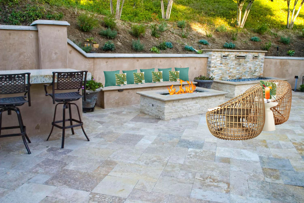 Outdoor living space drop-on rendering