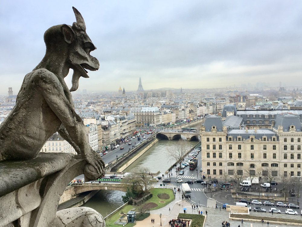 The view of Paris from top of the Norte Dame Cathedral's bell tower with gargoyle.
