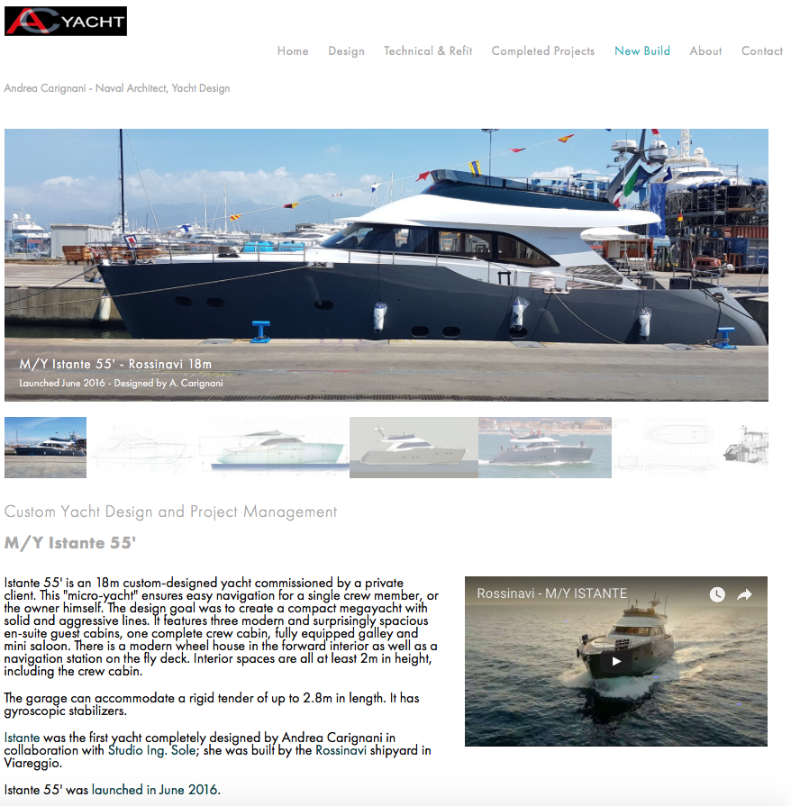 AC Yacht Design website