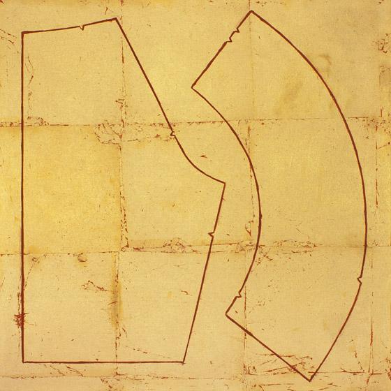 Cuerpo / Territorio 10 . Cuerpo Territorio . Óleo sobre lienzo con hojilla dorada .  50 x 50 cm . 2011