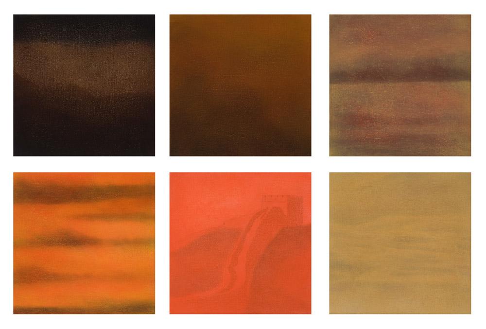 Atmósfera, Óleo sobre lienzo, Políptico 25x25, 2008