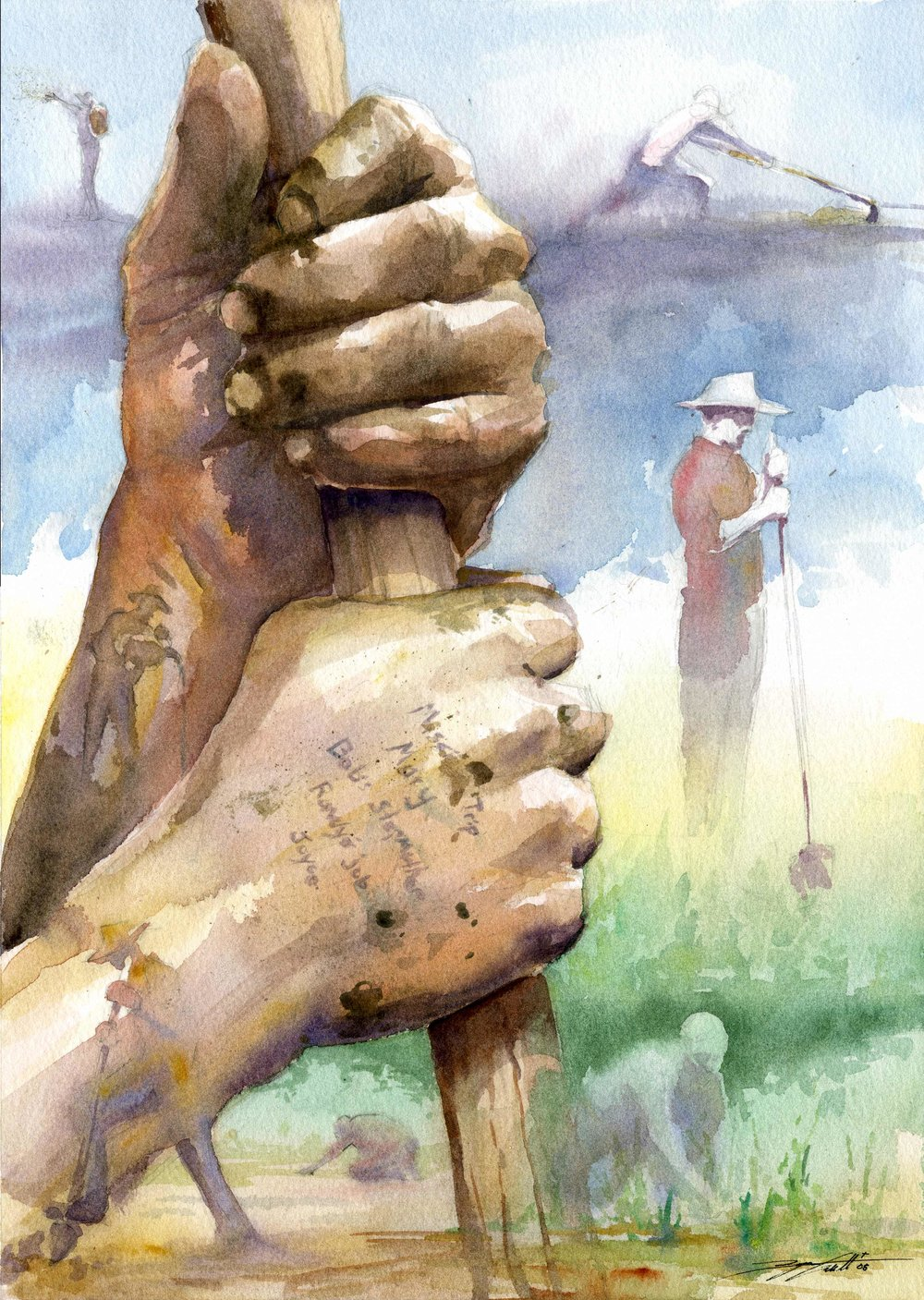 """John Holbrook's Hands"".  Watercolor.  12x16"". 2007."