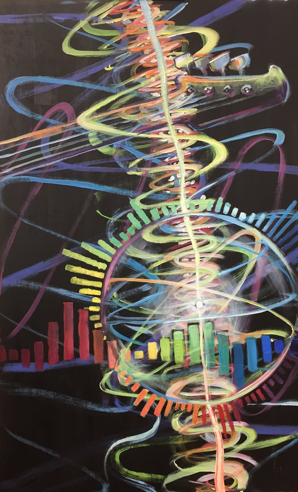 """In Tune"". Painted live at Walnut Hill Community Church, Bethel, CT to the opening sermon series ""Find Your Groove"" by lead pastor Adam DePasquale. December 30, 2018. 32 x 19.75"". Acrylic on wooden Panel.  We all know what it feels like to be in dissonance with the Lord, walking ""out of tune"" with God's Spirit in our daily lives. On the other hand, we hopefully have all experienced moments of deep resonance with the Lord- when everything feels like it is in harmony with God's plan. This painting was created to remind Walnut Hill Community Church to ""Find Your Groove"", and be aware that in each season of our ever-changing lives, we need to perpetually, pliably, and prayerfully tune our hearts to the divine frequency of God's will. Bryn Gillette painted this image live during the opening message of the series at the Bethel campus during the preaching of lead pastor Adam DePasquale. The tuning keys of the bass guitar at the top are a metaphor of our need to adjust our hearts to stay in tune. Waves of sound frequency, color spectrum, and the ""Find Your Groove"" pulsing graphic visualize the changing melodies of life's seasons. The atomic sphere captures a prayerful revelation that took place between Bryn and guest speaker Jameson Parker: May God's frequency so permeate our lives through prayer that we vibrate with His very purposes in every pore, every cell of our body, every atomic particle in tune with the divine resonance."