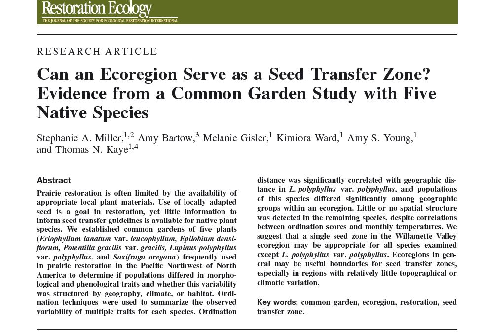 Resource regarding ecoregions and seed transfer zones
