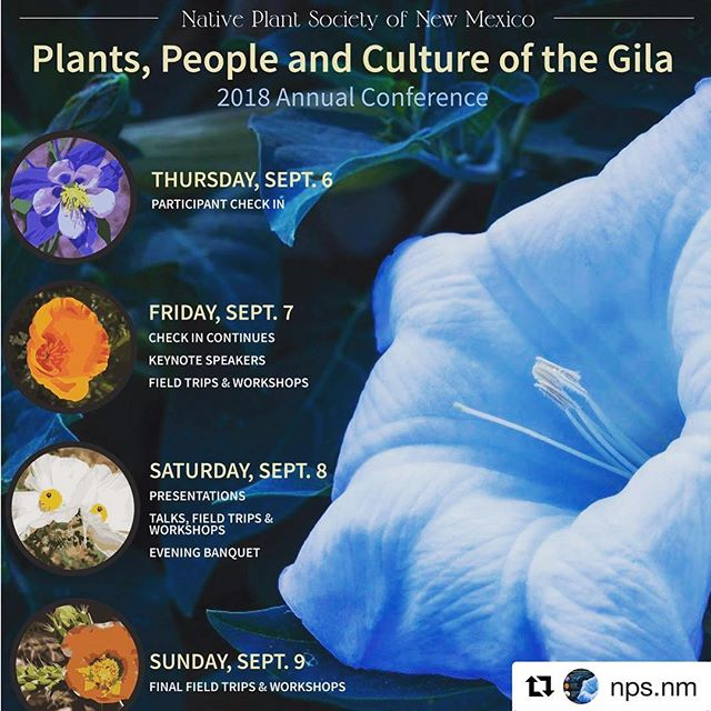 Save the date! #Repost @nps.nm ・・・ Join us for our annual Native Plant Society Conference in Silver City this year ... September 6-9.  More information can be found at https://www.npsnm.org/events/2018-annual-conference