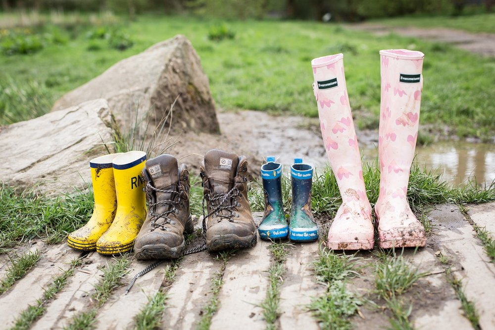 Muddy boots after a fun family photo session in Bramhall Happy Valley, Cheshire