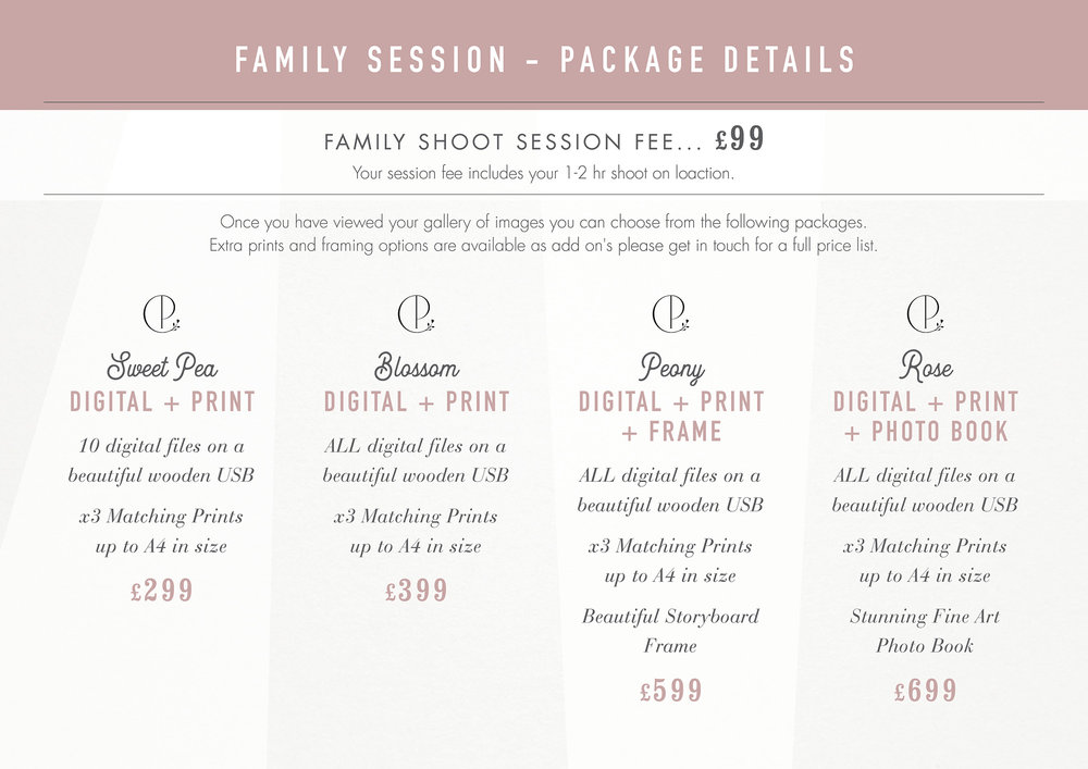 Cheshire Family Photographer Prices 2018