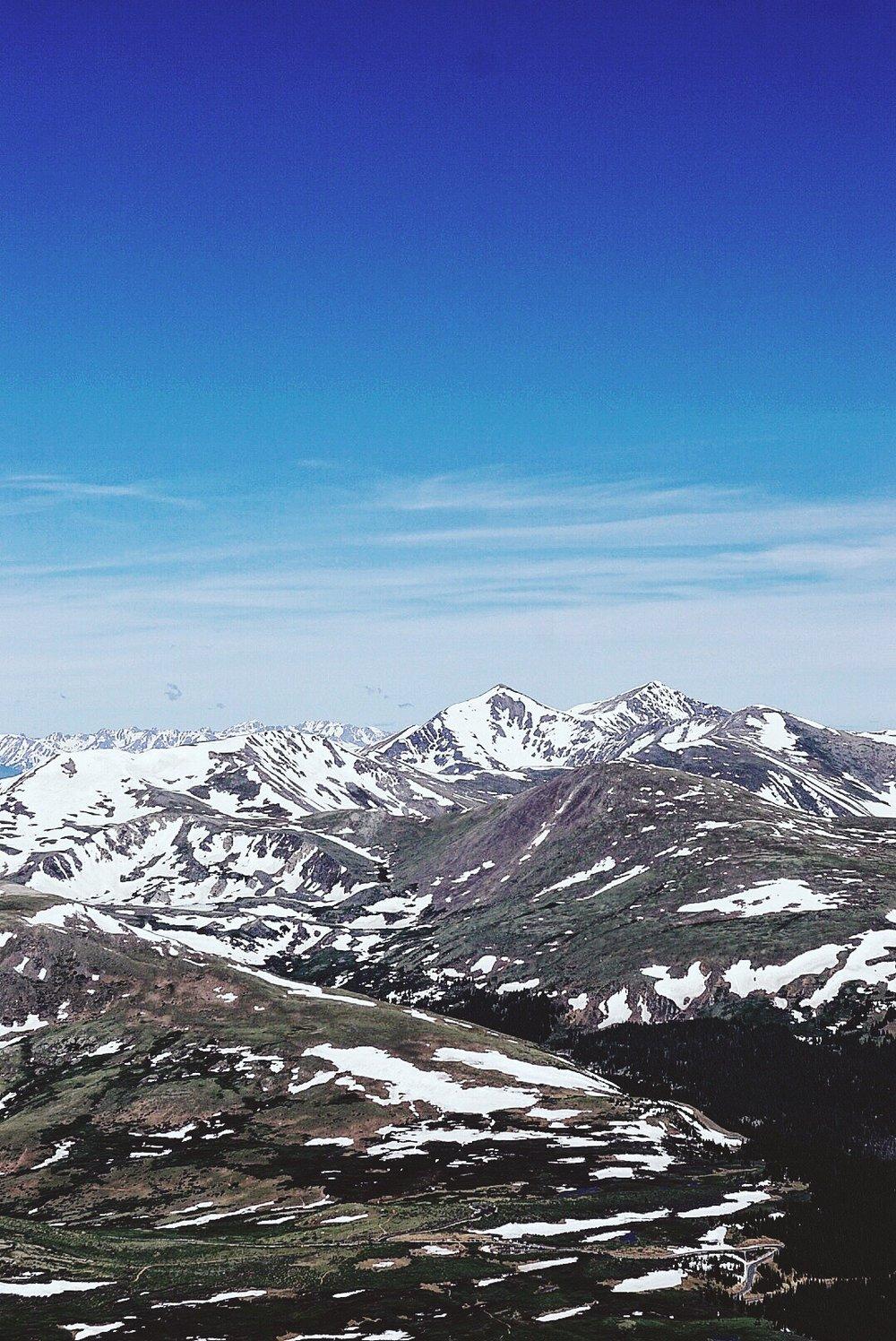 Summit of Mt. Bierstadt looking towards Grays and Torrey's Peaks.