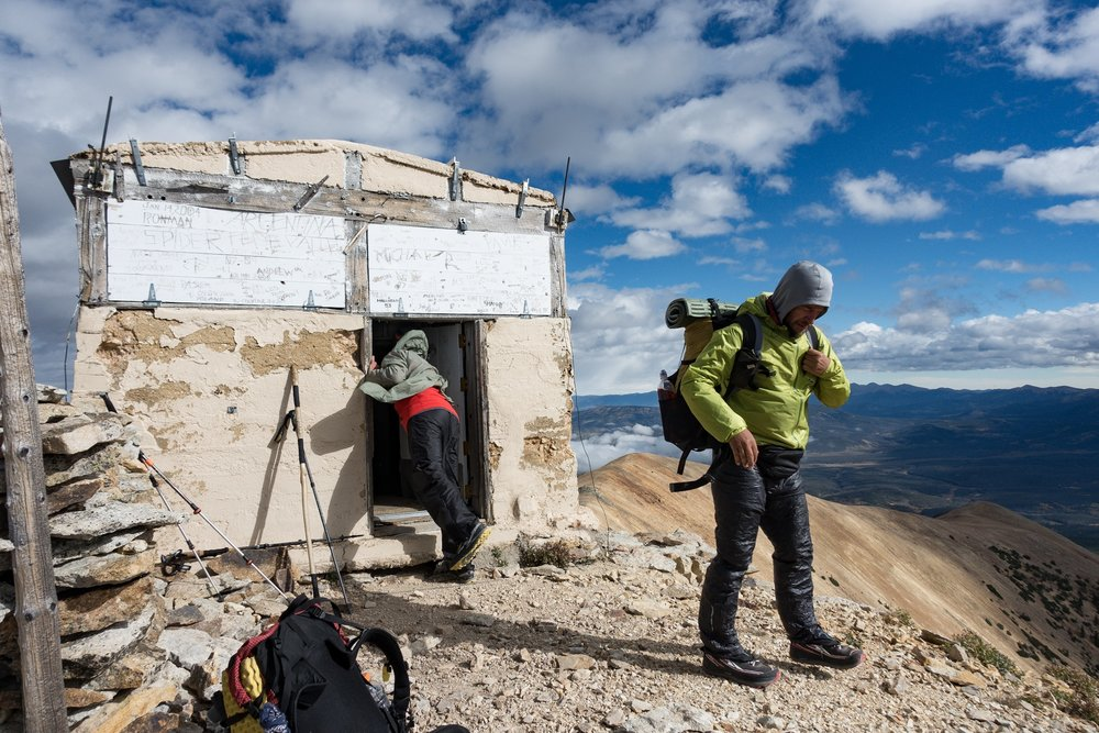 The emergency shelter at the top