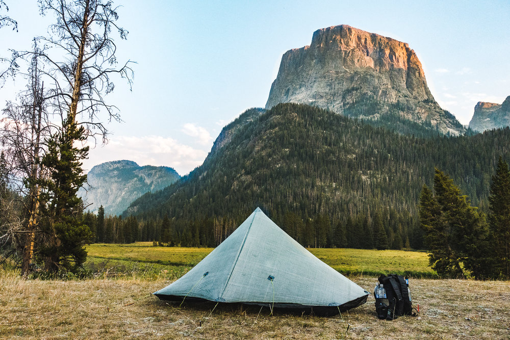 Hexamid pitched beneath Squaretop in the Wind River Range